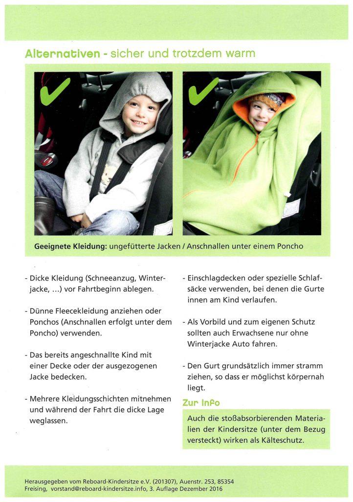 Flyer zur Aufklärung über dicke Winterkleidung im Auto